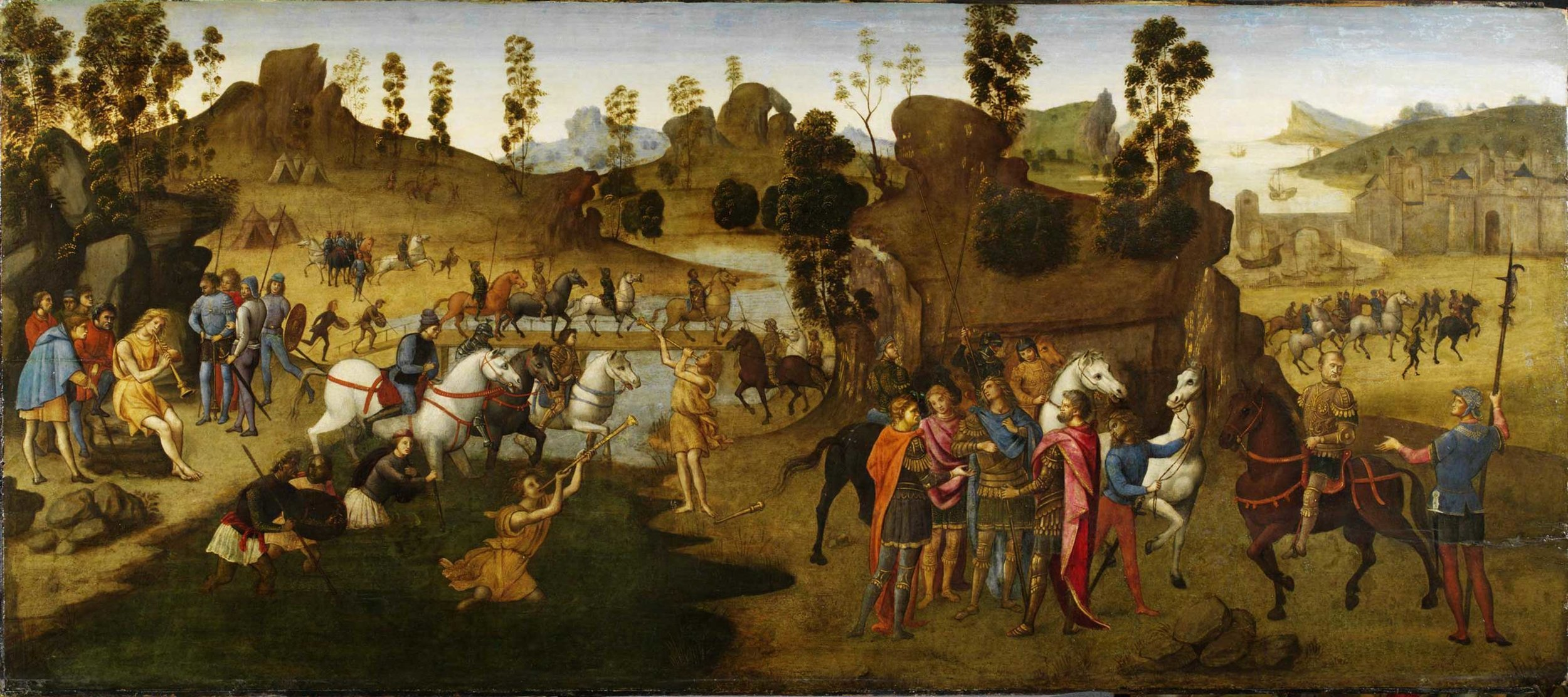Julius Caesar and the Crossing of the Rubicon,  Francesco Granacci, 1494. Courtesy of Victoria and Albert Museum.