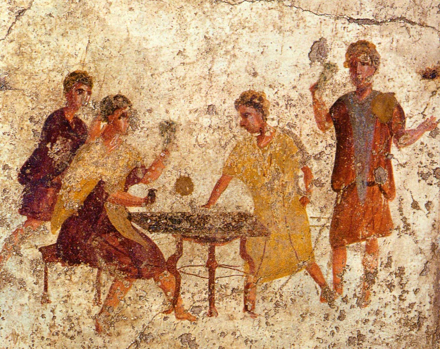 Dice players, Roman fresco from the Osteria della Via di Mercurio in Pompeii.