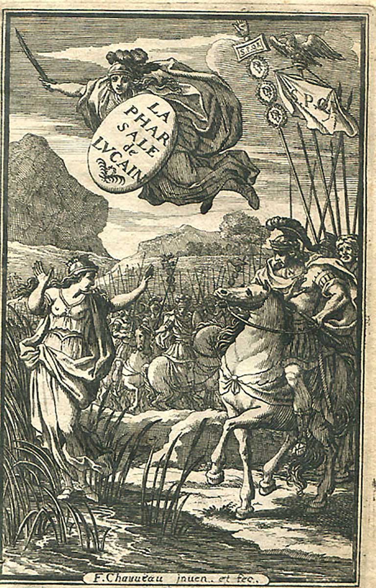 This is the title page of a french edition of Lucans  Pharsalia  from 1657 where Caesar's meeting with the personified Rome is depicted.
