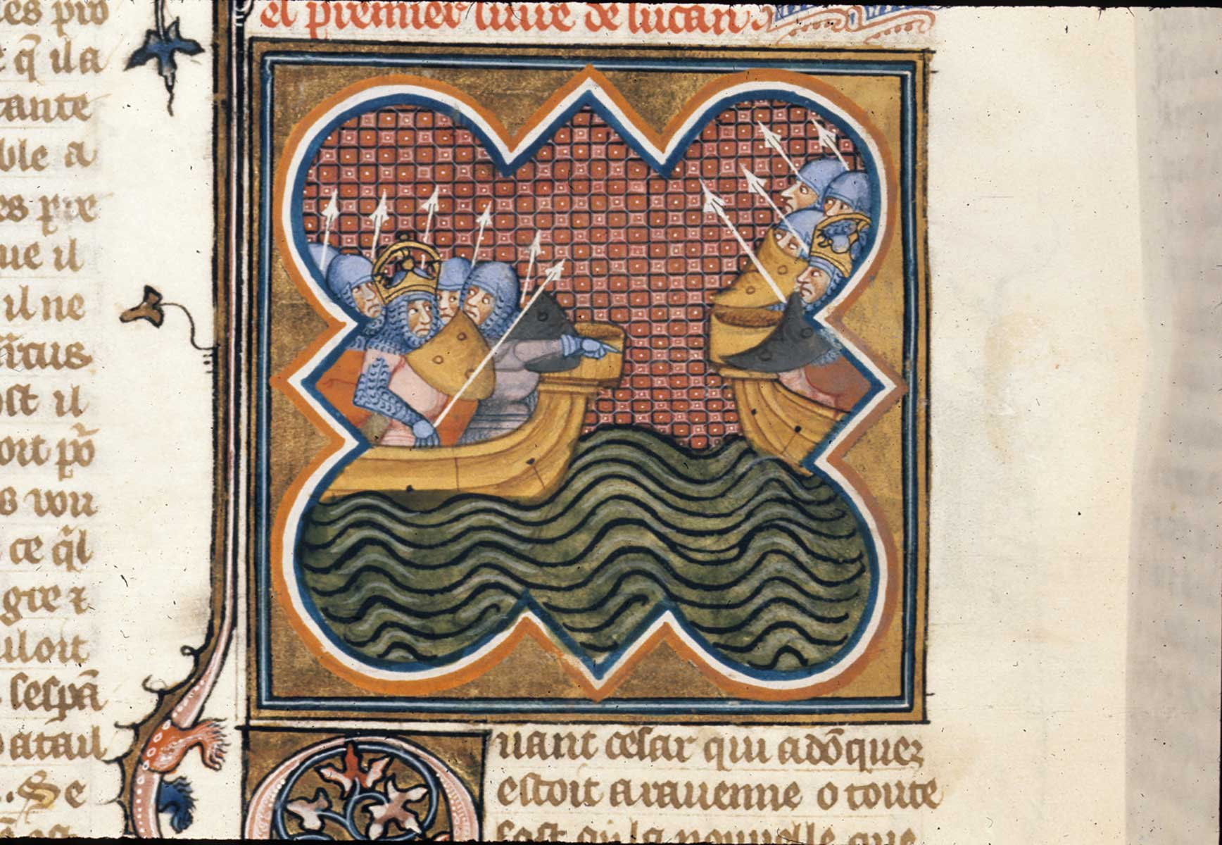 Illustration of Caesar's passage over the Rubicon from  Les anciennes hystoires rommaines , 1375-99. This image clearly shows that even the size of the Rubicon had been forgotten.