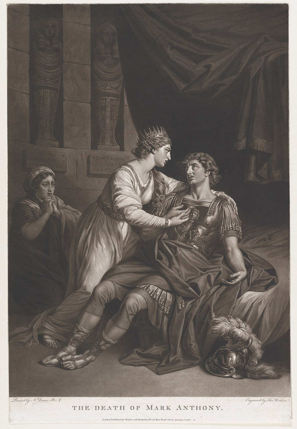 The Death of Mark Anthony, from Shakespeare's  Antony and Cleopatra , Act 4, Scene 15 by Nathaniel Dance-Holland. Metropolitan museum of Art.