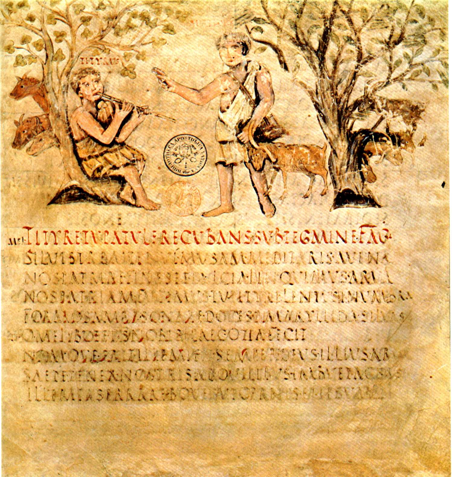 First lines of  Eclogues,  or  Bucolica,  from  Vergilius Romanus  - an illustrated manuscript from the 5th century. Biblioteca Apostolica, Cod. Vat. lat. 3867.