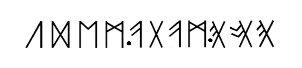 Runae in numismate Undlensi. Arcus super litteras indicant ligaturas.