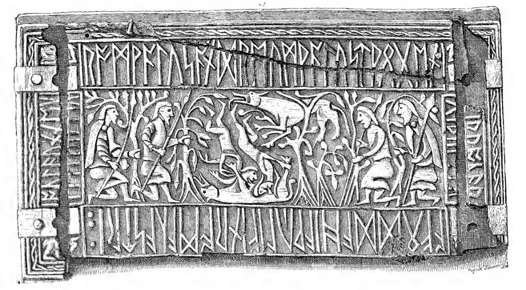 Scrinium Ausonium, saec. VIII factum, imagine Romuli Remique insculptum. Stephens, George. 1884.  Handbook of the Old-Northern Runic Monuments of Scandinavia and England . London: Williams and Norgate.