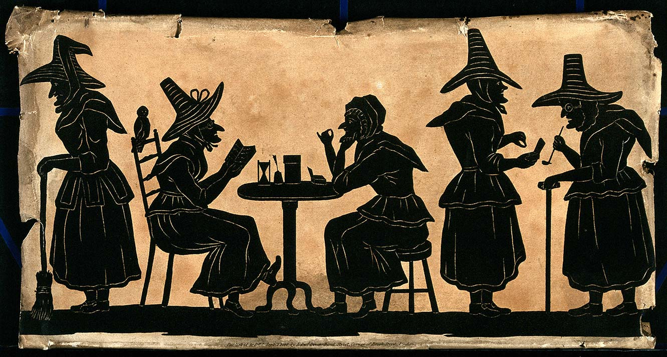 Credit: Wellcome Library, London Wellcome Images http:wellcomeimages.org. Witches five silhouetted figures September 1815 Published Sept 1, 1815.