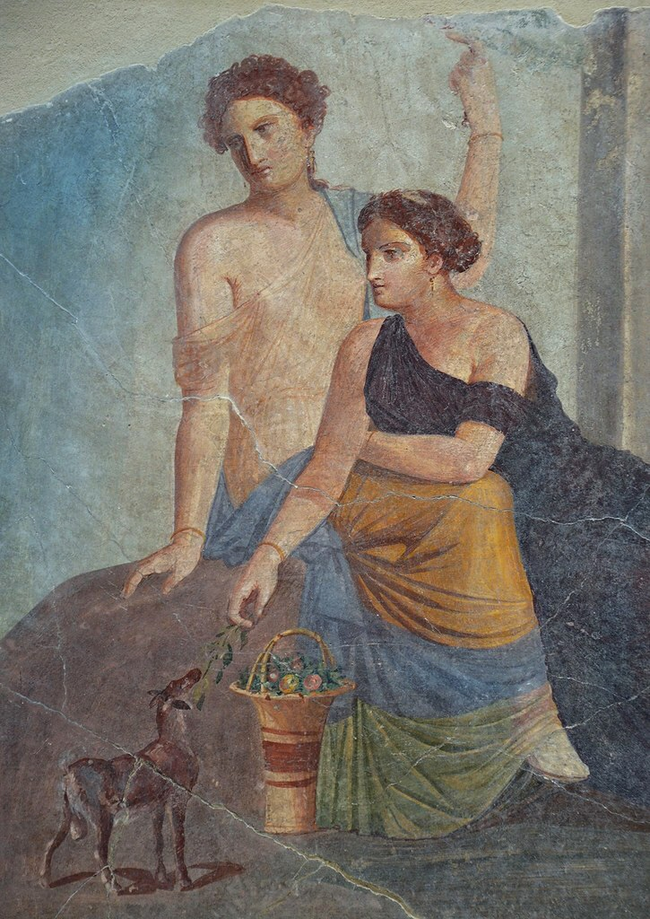 Woman with a fawn, fresco Pompeii 30-50 AD