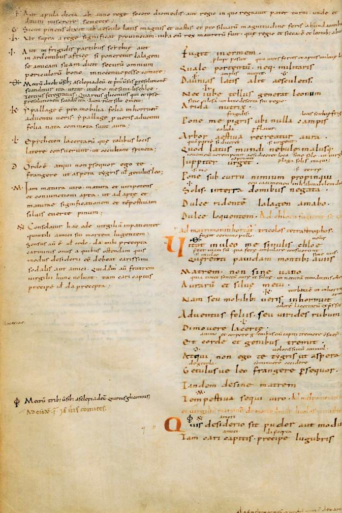 Horace, Odes 1.23 manuscript from the library of Petrarch. Florence, Biblioteca Medicea Laurenziana, Plut. 34.1, fol. 13v
