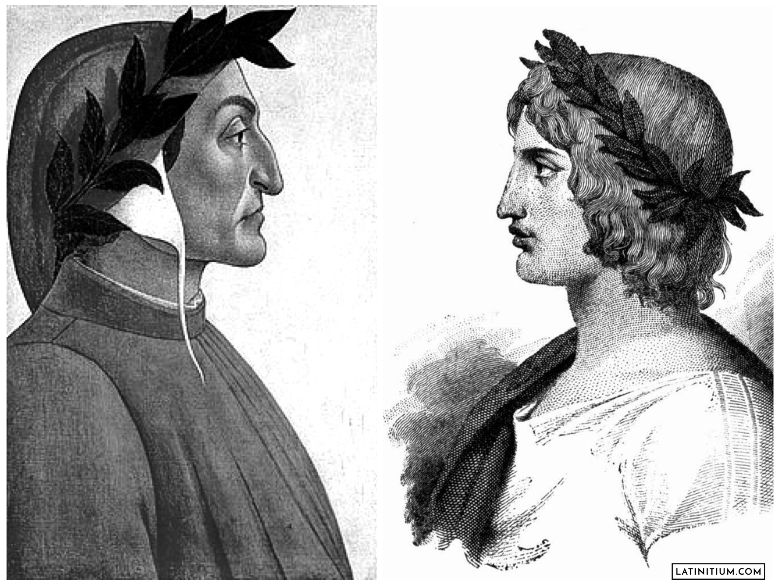 Dante by Botticelli to the left, and Vergilius, or Virgil, to the right.
