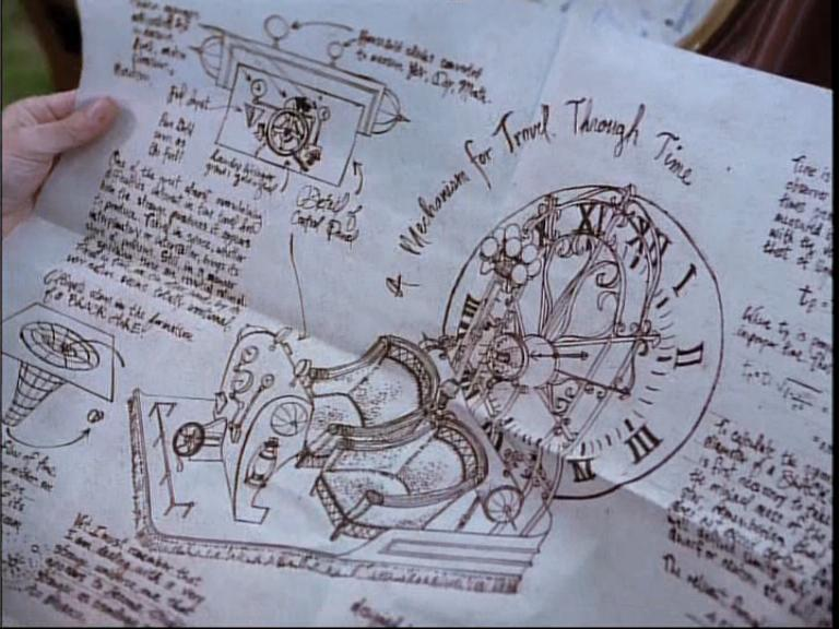 """HG Well's time travel machine blueprint from the TV-series  Lois and Clark  season 2 episode 18 """"Tempus fugitive""""."""
