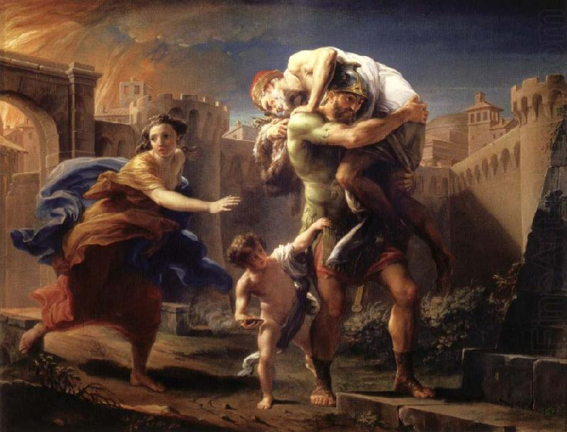 """""""Aeneas fleeing from Troy"""" by Pompeo Batoni"""