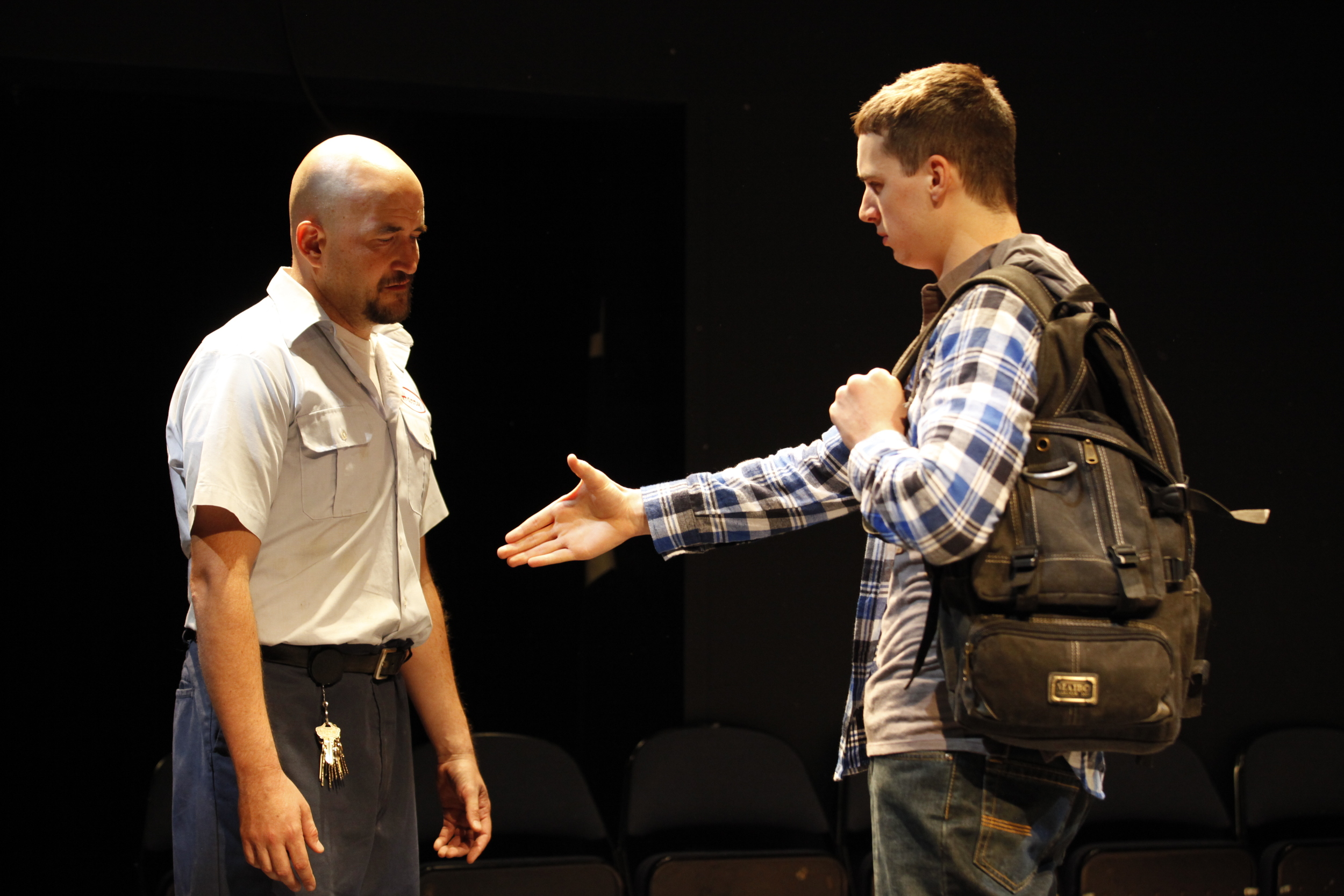 Travis Mitchell and Bryan Fitzgerald in the New York City production.  Photo Carol Rosegg