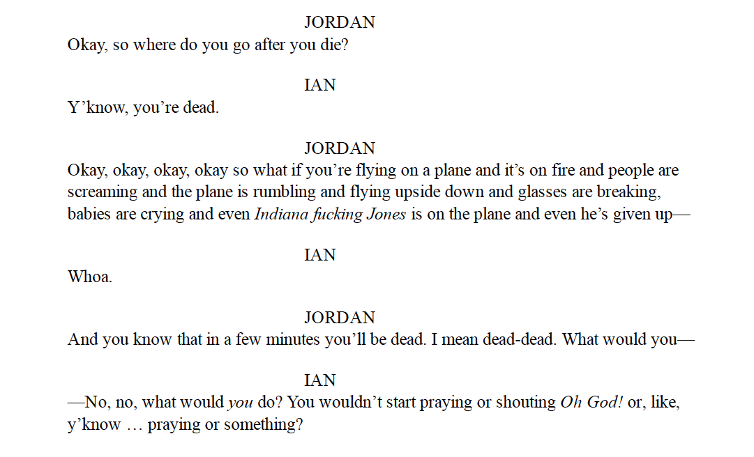 """An excerpt from the script to """"The Bus"""" by James Lantz"""