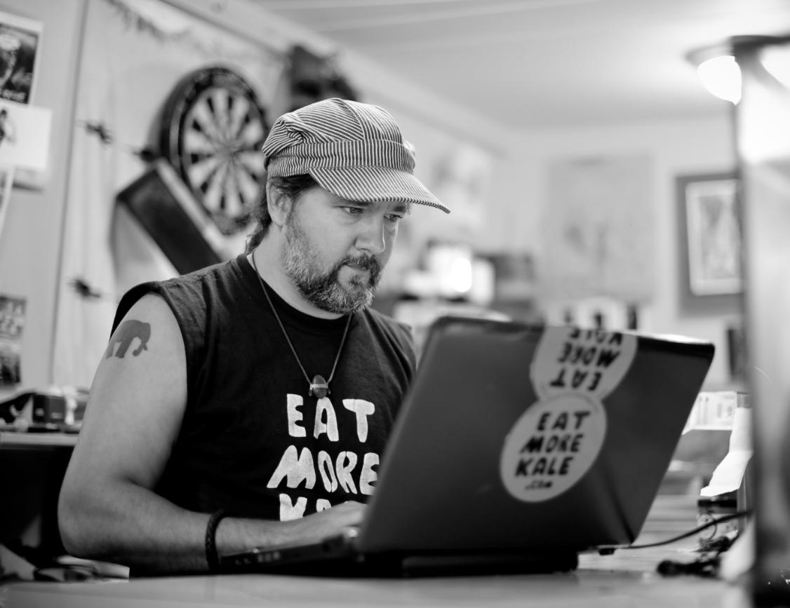 Bo Moore in his studio in Montpelier, VT, 2012 (photo Ben Sarle)