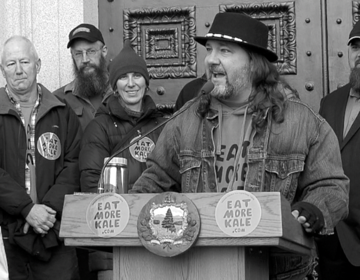 Bo Moore, Eat More Kale press conference Vermont statehouse, Dec 2014 (image from documentary footage)