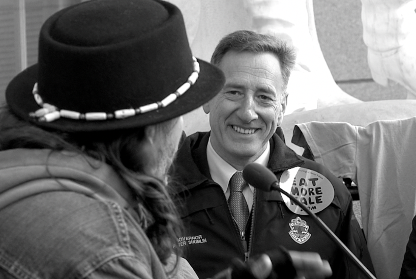 Governor Peter Shumlin, Eat More Kale press conference, Vermont statehouse, Dec 2014 (image from documentary footage)