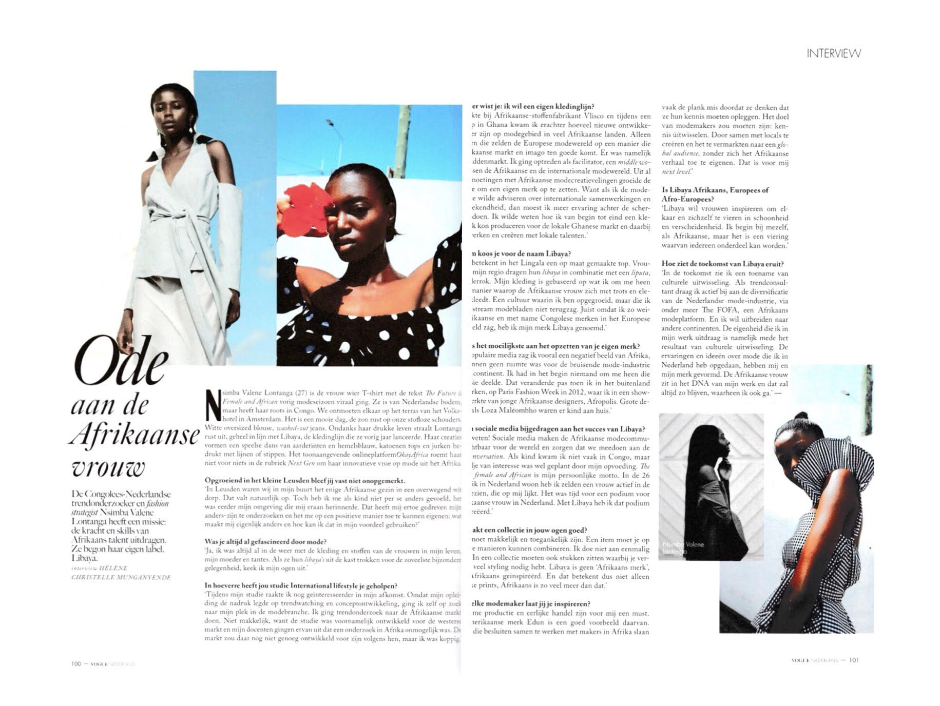 Our founder Nsimba Valene in conversation with Vogue Netherlands about her journey with LIBAYA.