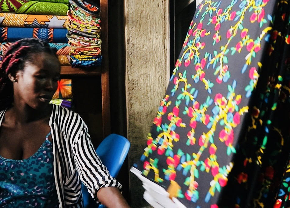 Fabric sourcing with Ivy — one of our individual tailors. She is maker behind the MABELE top!
