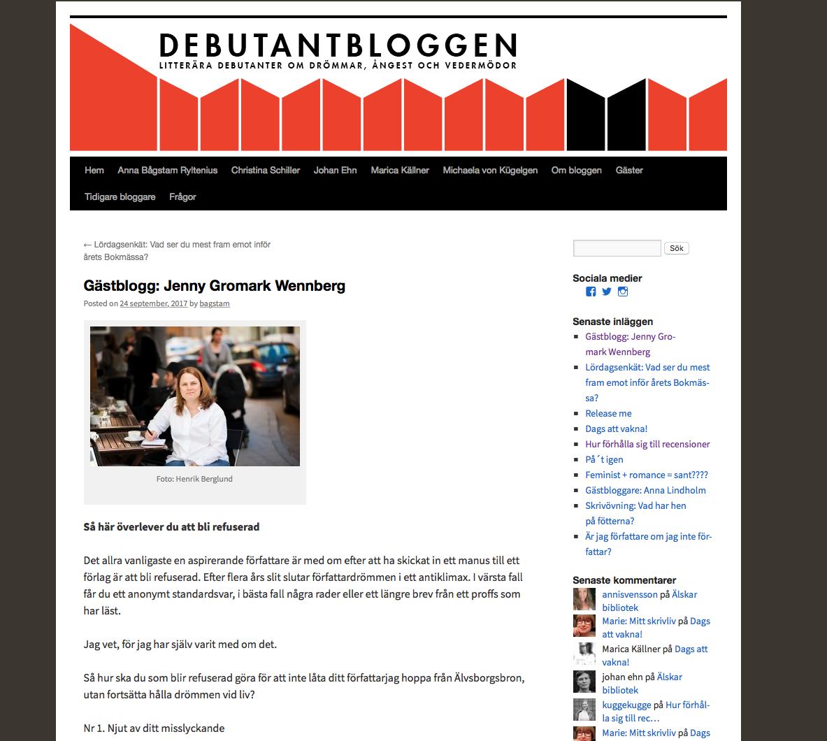 Debutantbloggen , litterära debutanter om drömmar, ångest och vedermödor. Foto: Henrik Berglund.