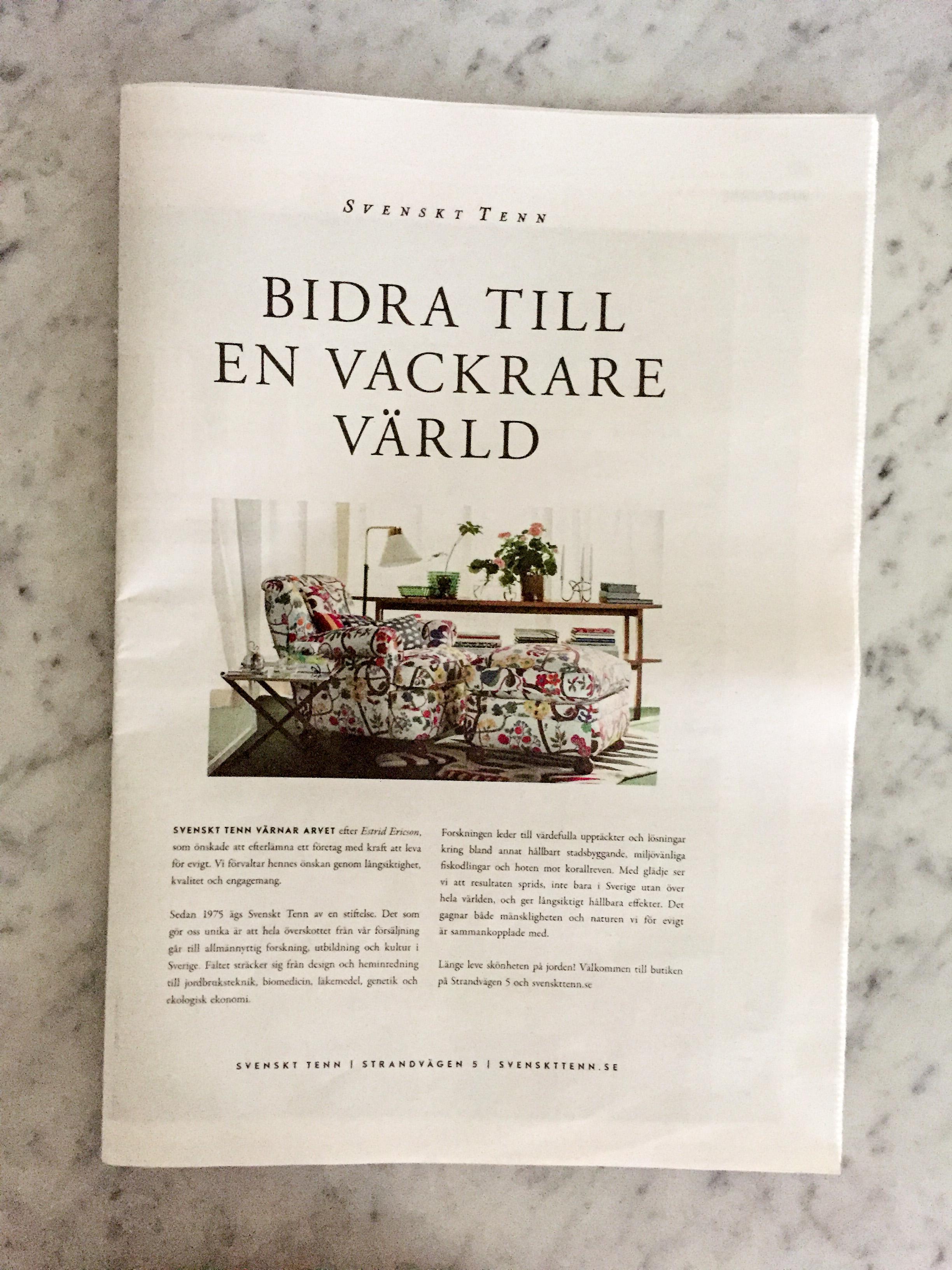 Om hållbar forskning. Kampanj för  Svenskt Tenn  2017.