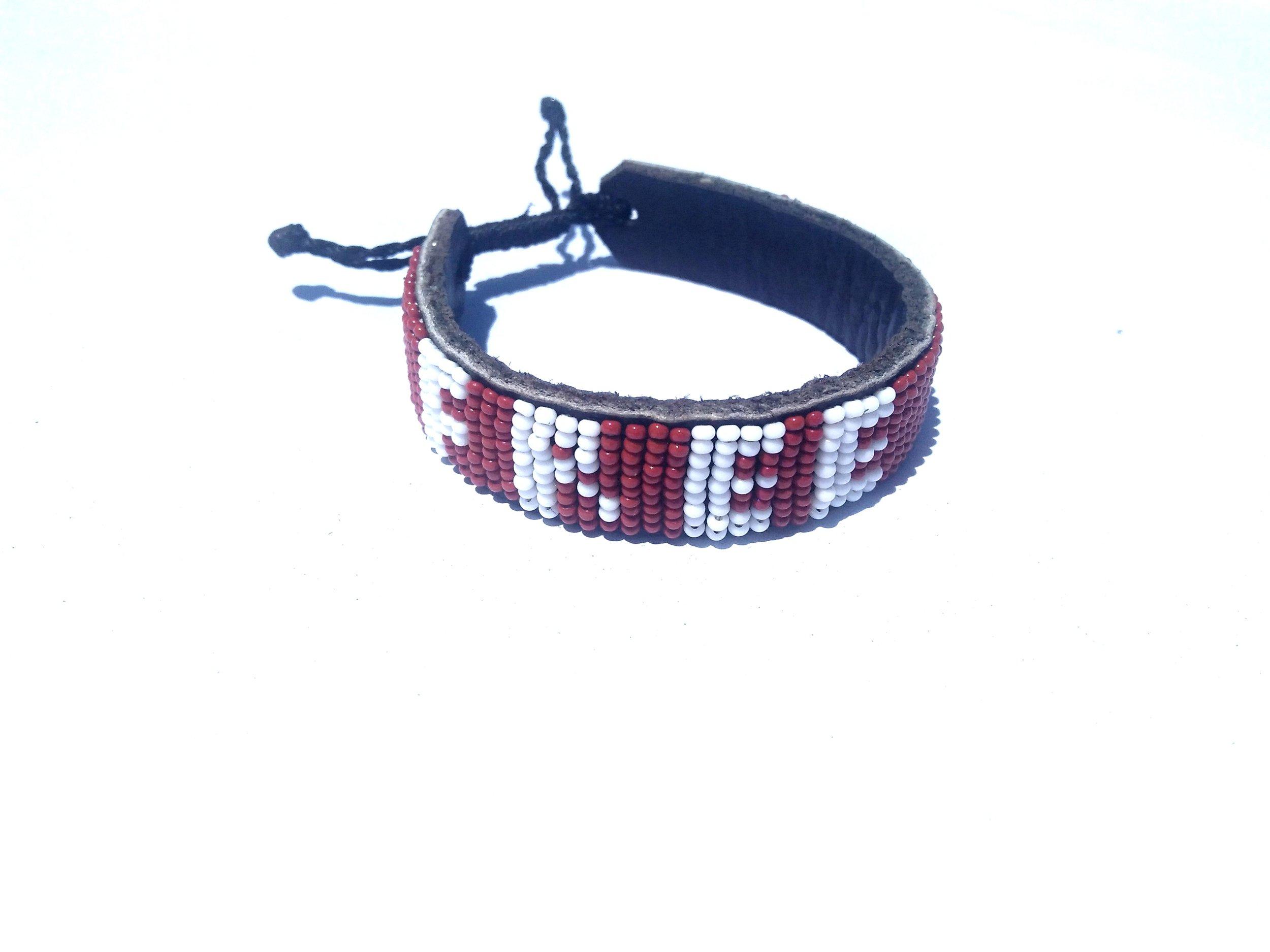 Leather word bracelet