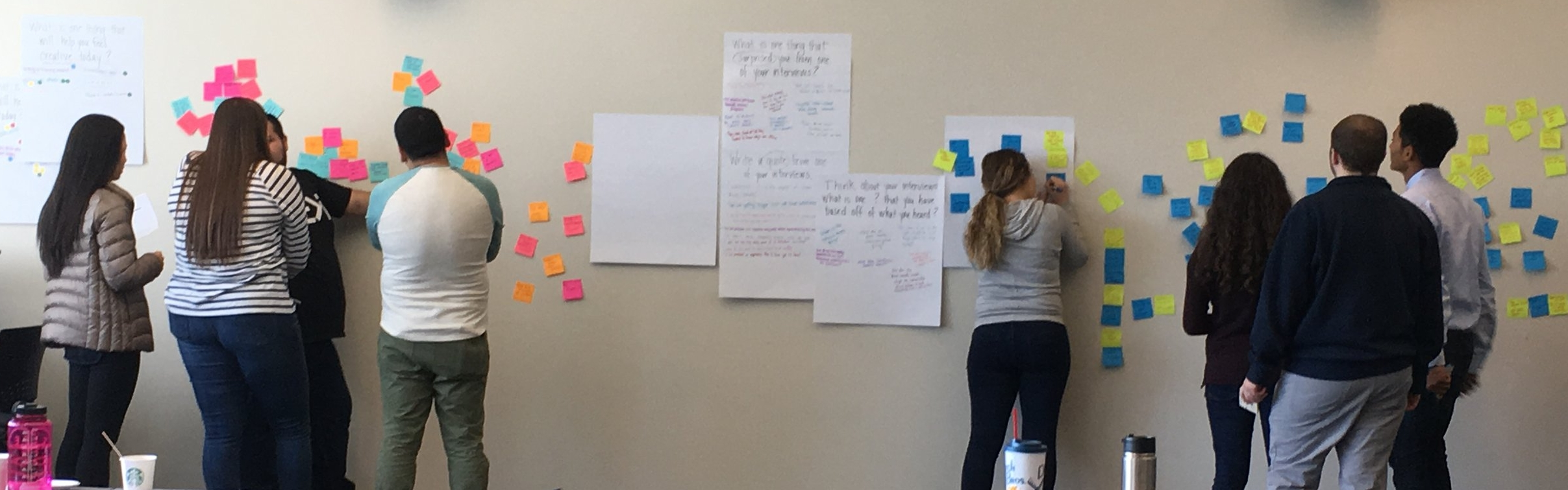 "Students at Concordia University synthesize their findings during the ""define"" stage of the design thinking process."