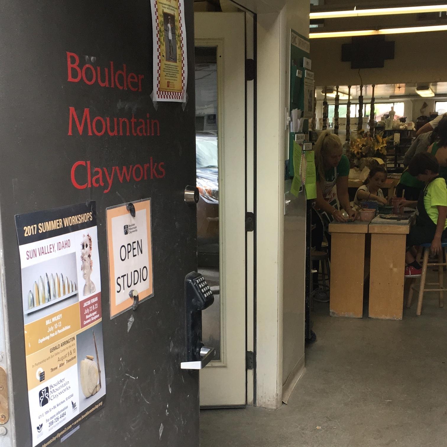 Boulder Mountain Clayworks door with open studio.JPG