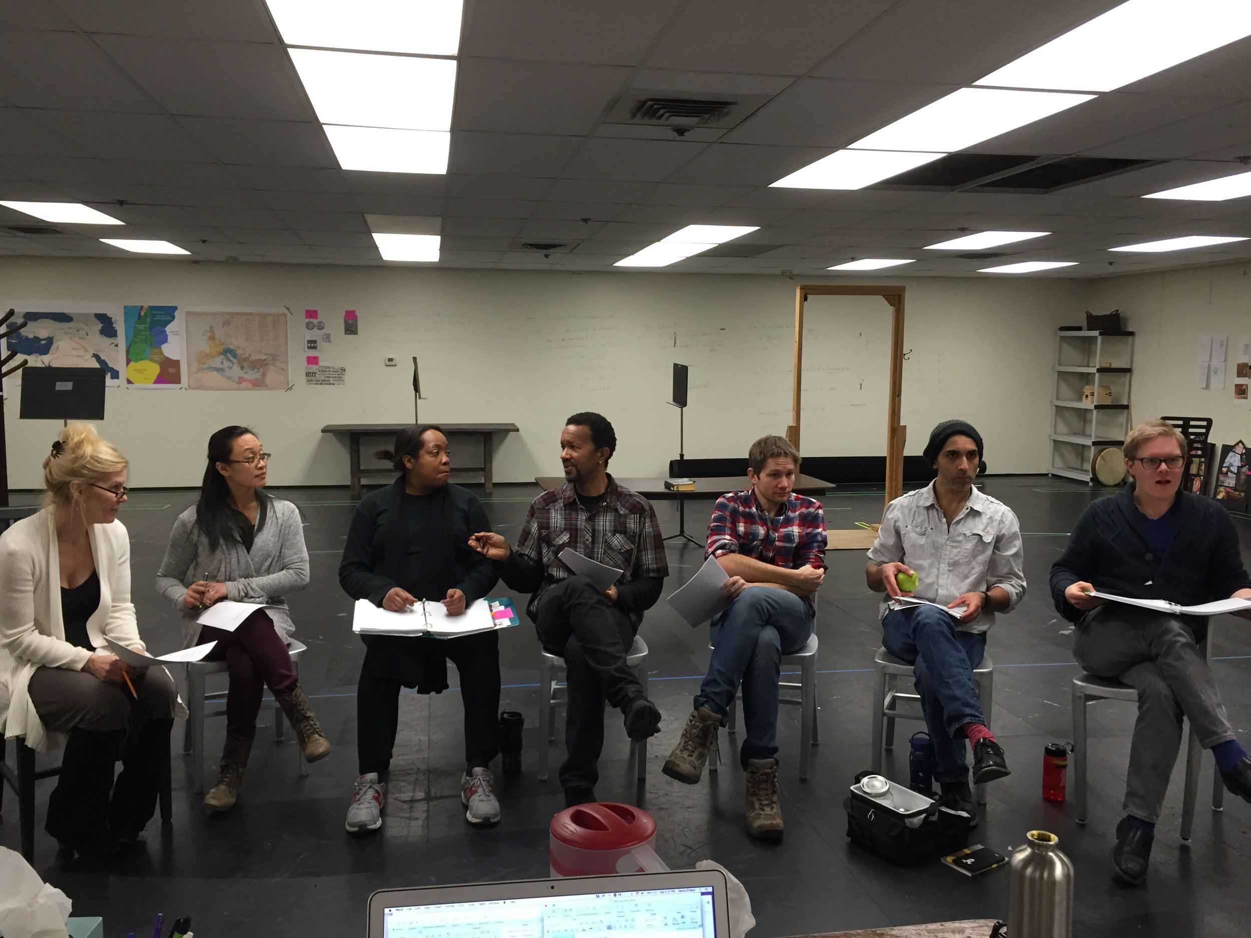 Cast note session after rehearsal