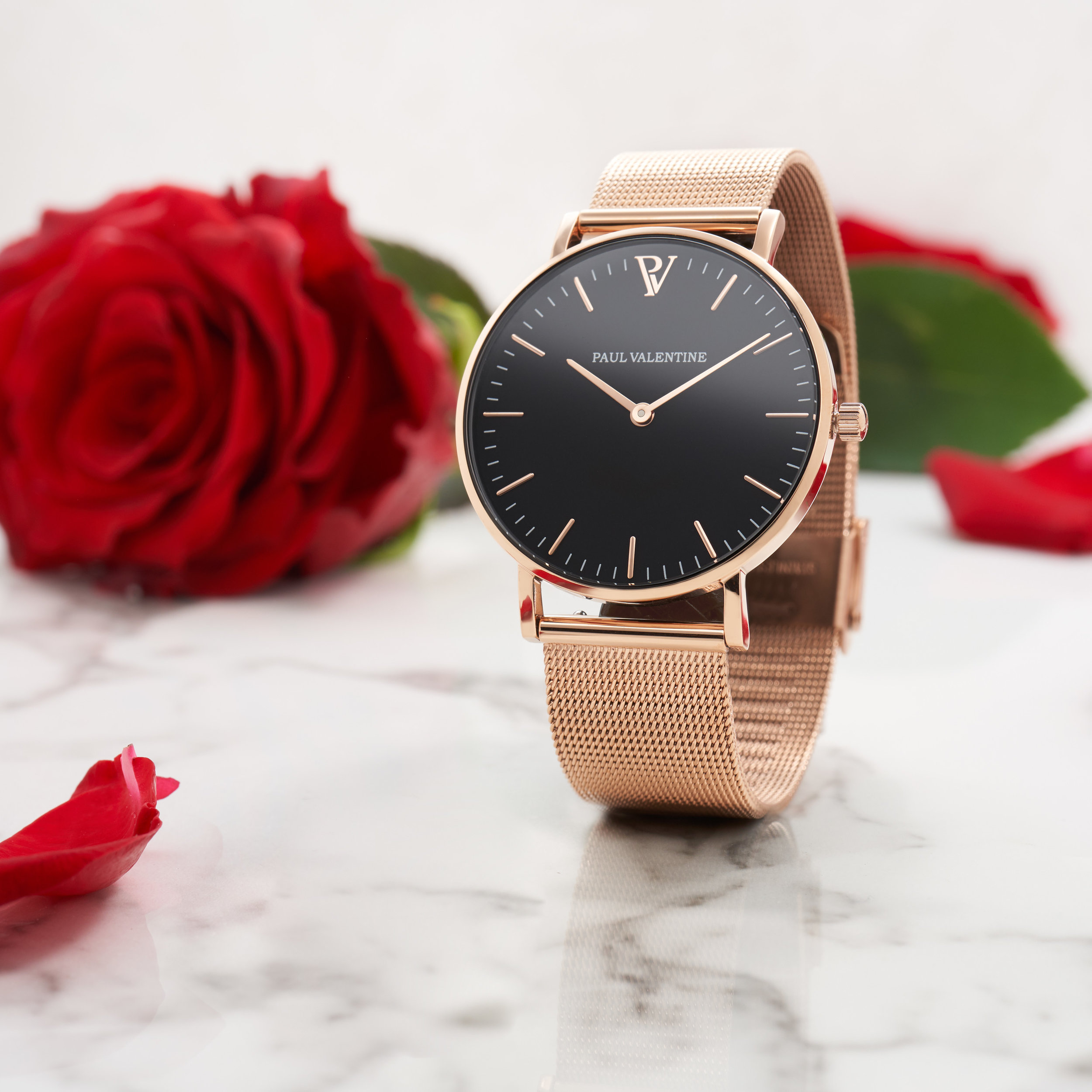 Pearl Rose Gold Mesh 36mm on white Marble with a rose_-2.jpg