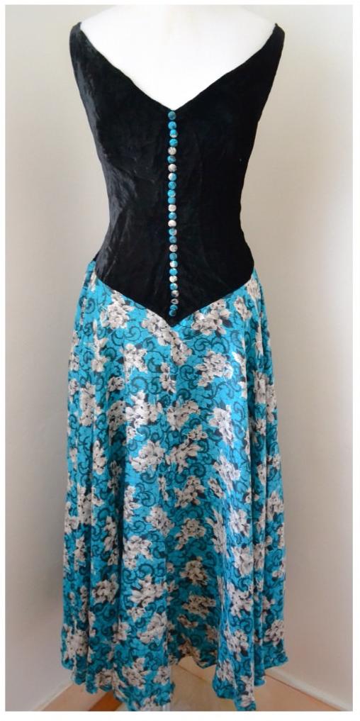 1930s Silk Velvet Bias Cut Dress