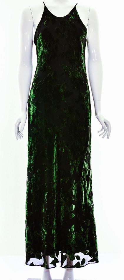 Dark Green Racerback Velvet Maxi Dress