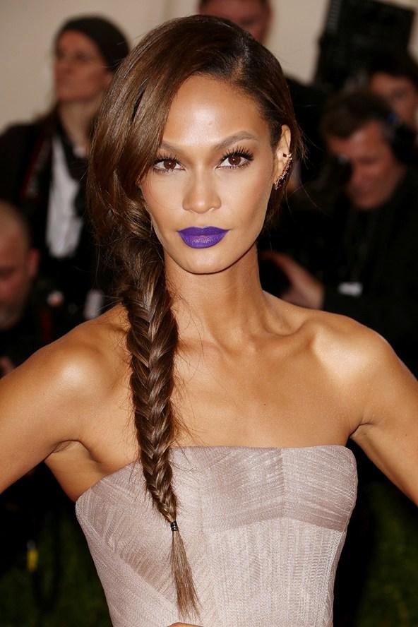 Joan Smalls wore purple lipstick to the Met Gala. Image credit Rex/Features via Vogue UK.