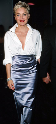 Sharon Stone taught us the value of unexpected pairings with this classic outfit.