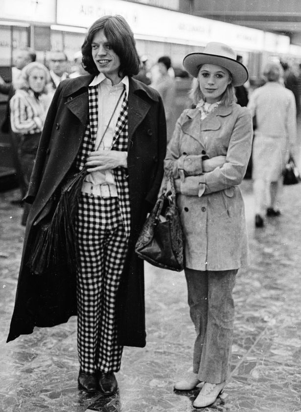 A checkered suit worn with Marianne Faithful, 1969. Photo: Getty Images.