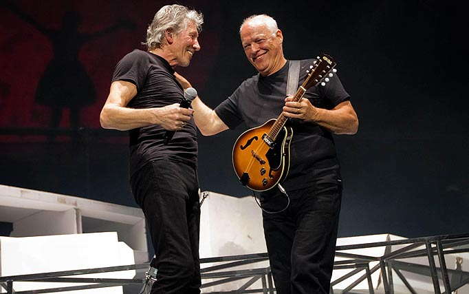 Here are the guys (Waters on the left, Gilmour on the right) at a rare reunion from May 2011.  I call this look black on black on black on black.  They didn't coordinate this- it's just how they dress. Photo: Muddy_Roger via last.fm.