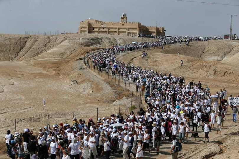 Women Waging Peace march near Jericho. Photo:Abbas Momani/AFP/Getty Images via Mideast Daily News.