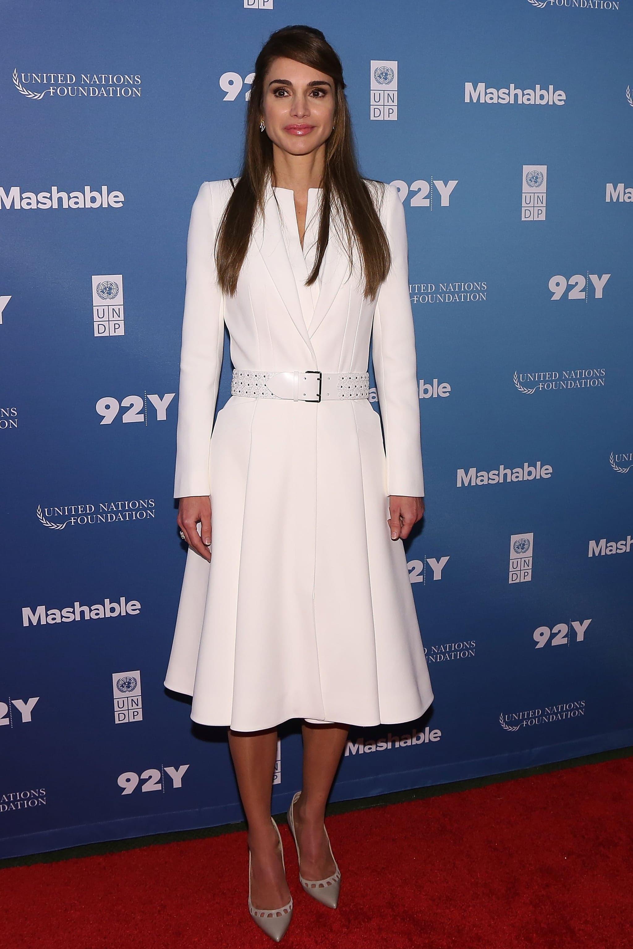 Queen Rania of Jordan wearing Alexander McQueen in 2015. Photo:Getty/Taylor Hill.