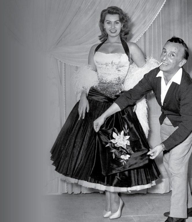 Fitting Sophia Loren for a gown in 1951.