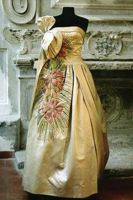 Silk evening gown, 1951