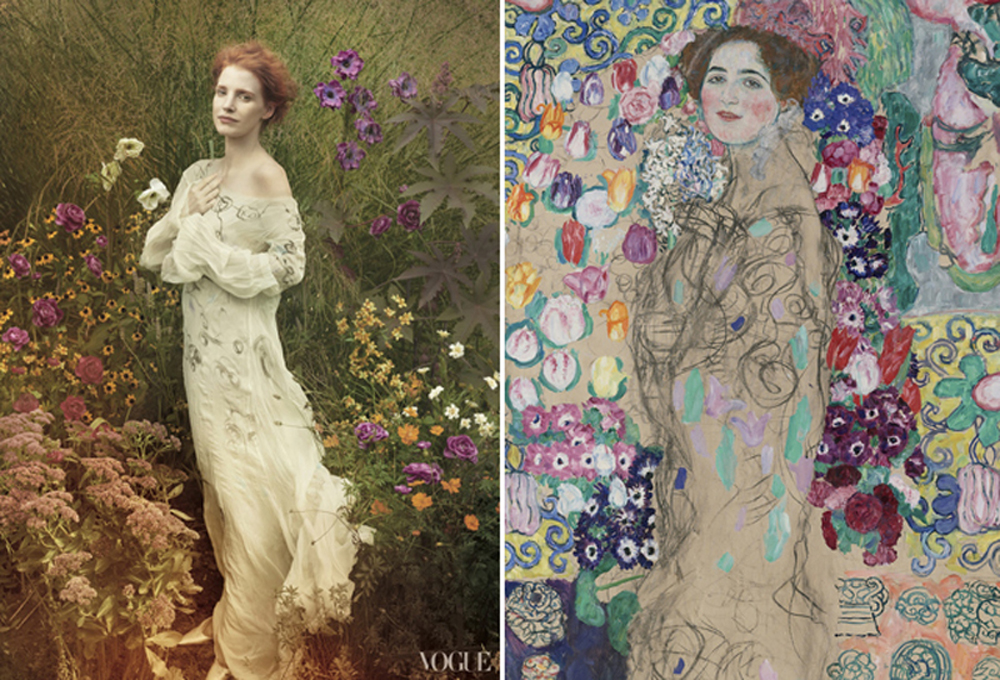 Jessica Chastain photographed by Annie Leibowitz recreating the Portrait of Ria Munk by Gustav Klimt for Vogue US, November 2013.