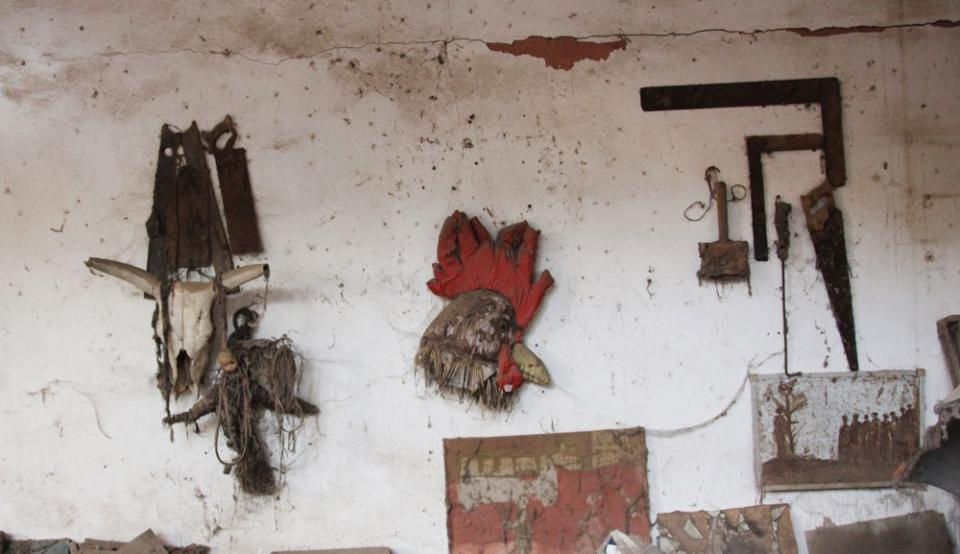 Issa Samb, La Cour (The Yard), 2013. Installation in the artist's home studio in Dakar, Senegal. Photo: OCA/Asle Olsen.