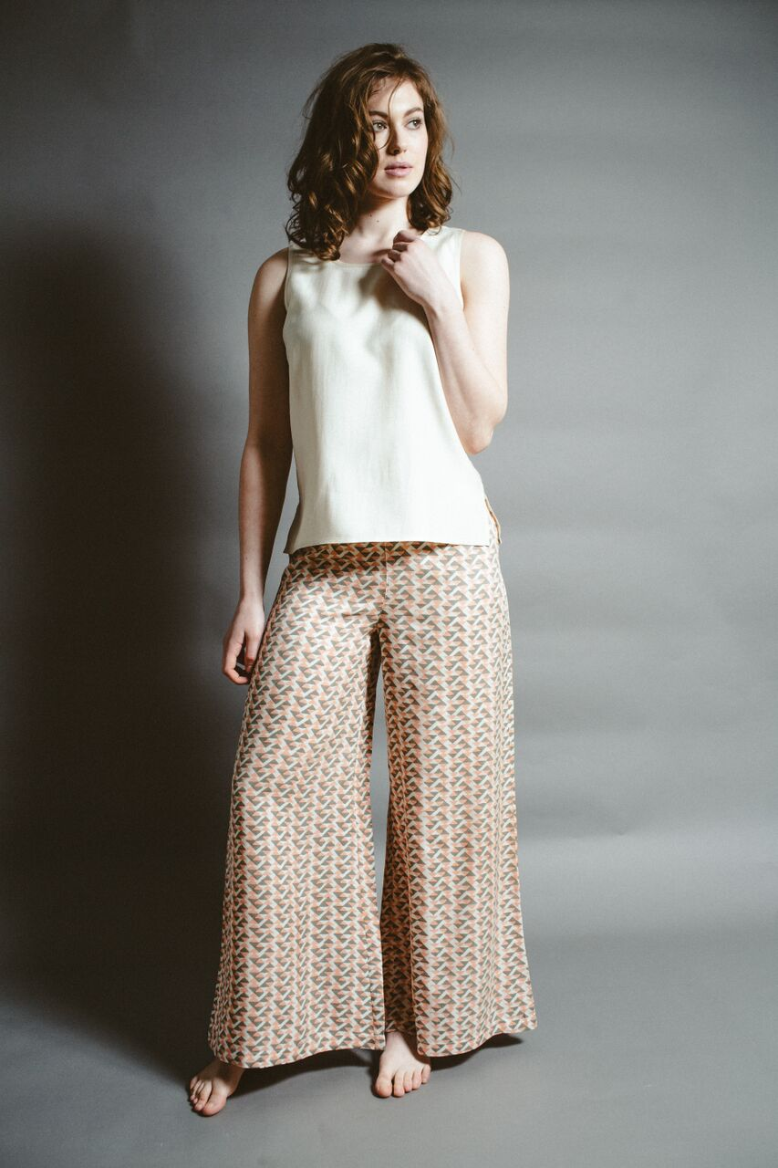 Ivory silk top  and  coral lounge pants .