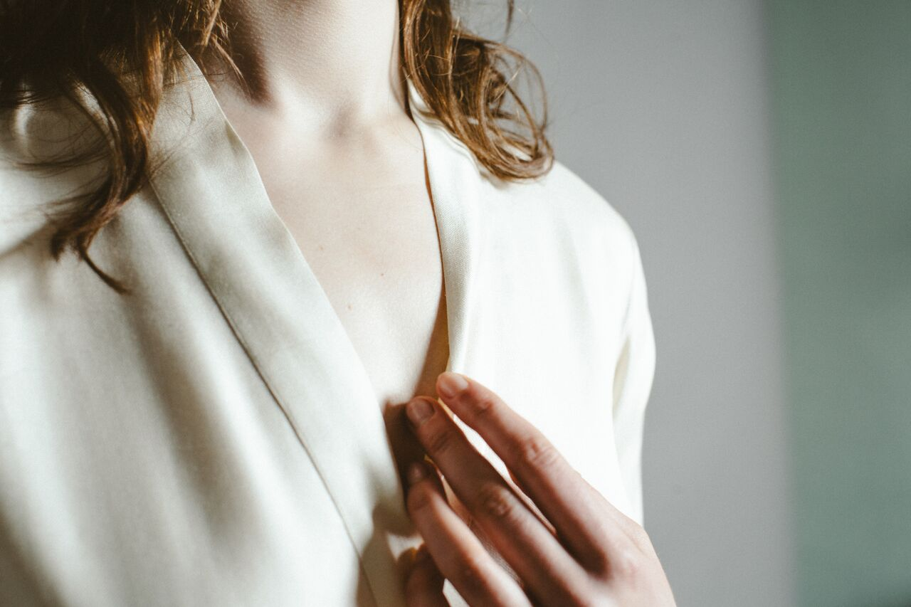 Ivory  silk robe .