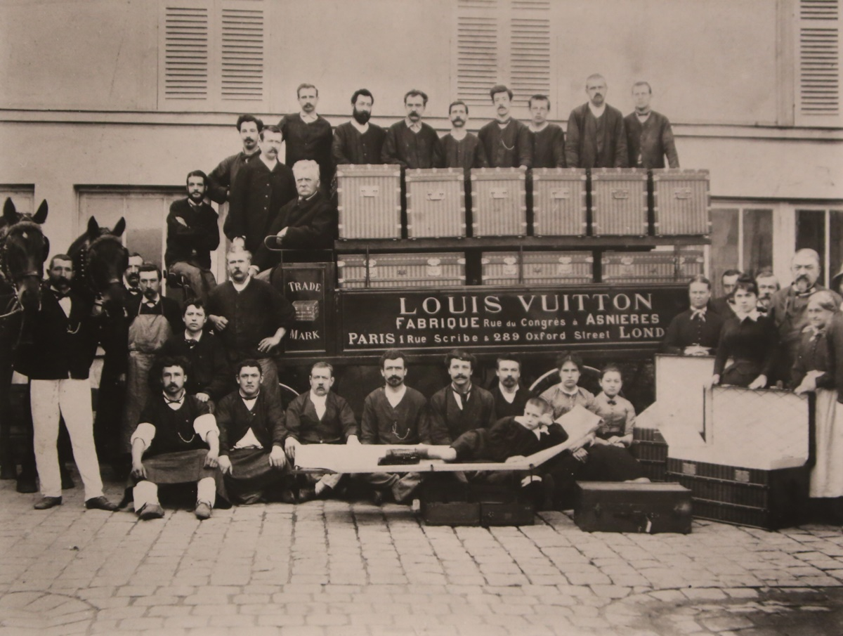 Team Louis Vuitton pictured at the company's first store in London in 1888. Photographer unknown.