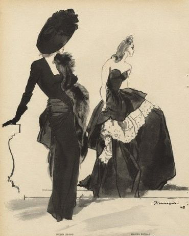 Lucien Lelong & Marcel Rochas, 1945