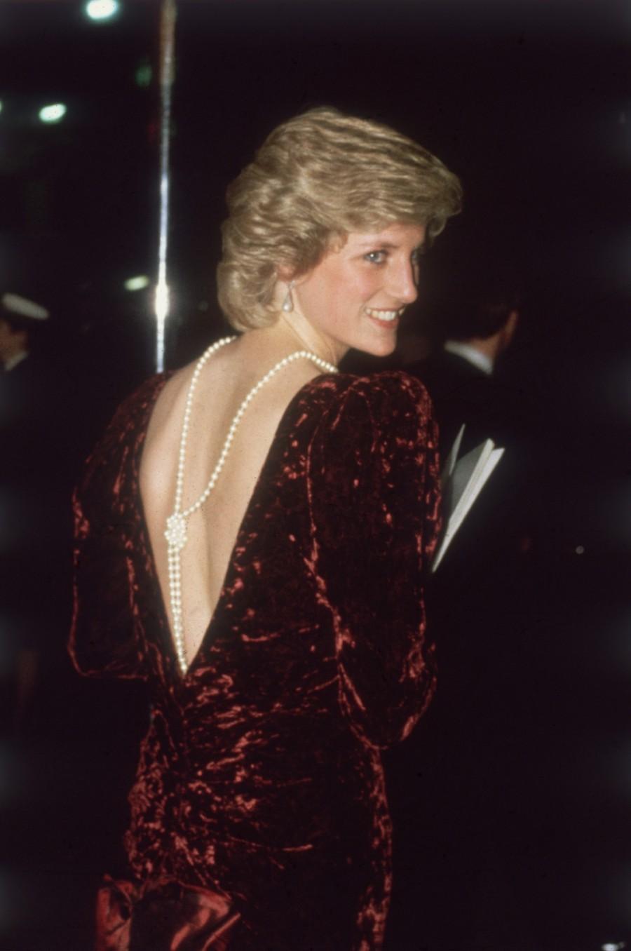 Diana, Princess of Wales, wearing Catherine Walker in 1985