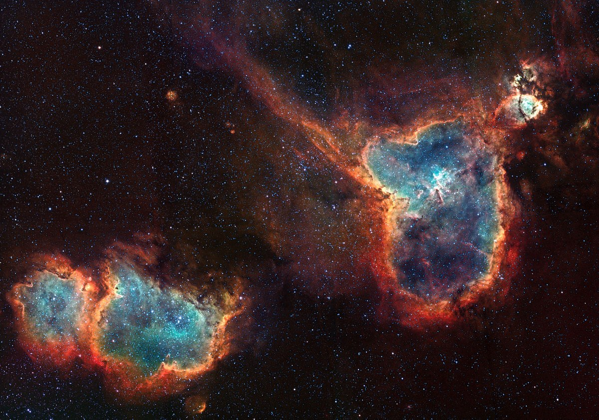 The Heart and Soul nebulas. Credit & Copyright: David Lindemann  via  NASA's Astronomy Picture of the Day.
