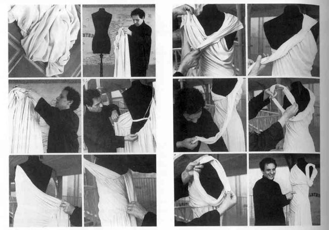 Alaïa reconstructing a Madeleine Vionnet dress from the 1930s. He was, like his predecessor, a master of fabric, cut, and drape. Photos from Madeleine Vionnet by Jacqueline Demornex and h/t to Caroline Rennolds Milbank  @jupeculotte  on instagram where I learned about this.