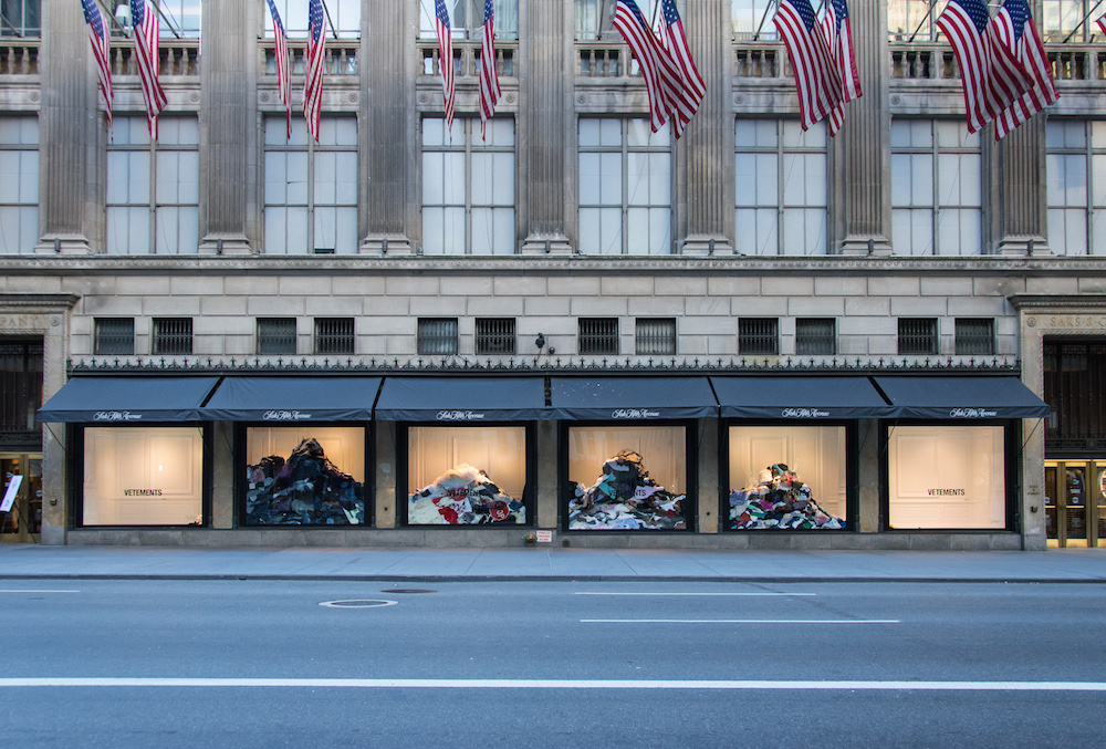In summer 2017, Vetements did a similar installation at Saks Fifth Avenue in NYC. Photo: Michael Ross for Saks Fifth Avenue.