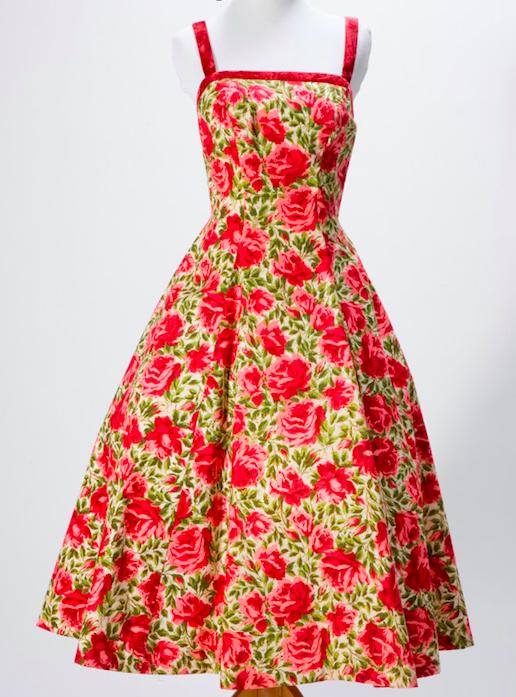 1950s Grenelle Estevez Cotton Rose Print Dress via Etsy