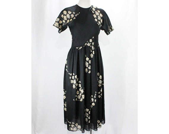 1980s Julio Espada Navy Chiffon Dress via Etsy